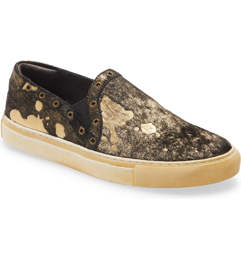 CHOCOLAT BLU Noella Slip-On Genuine Calf Hair Sneaker, Main, color, BLACK/ GOLD CALF HAIR