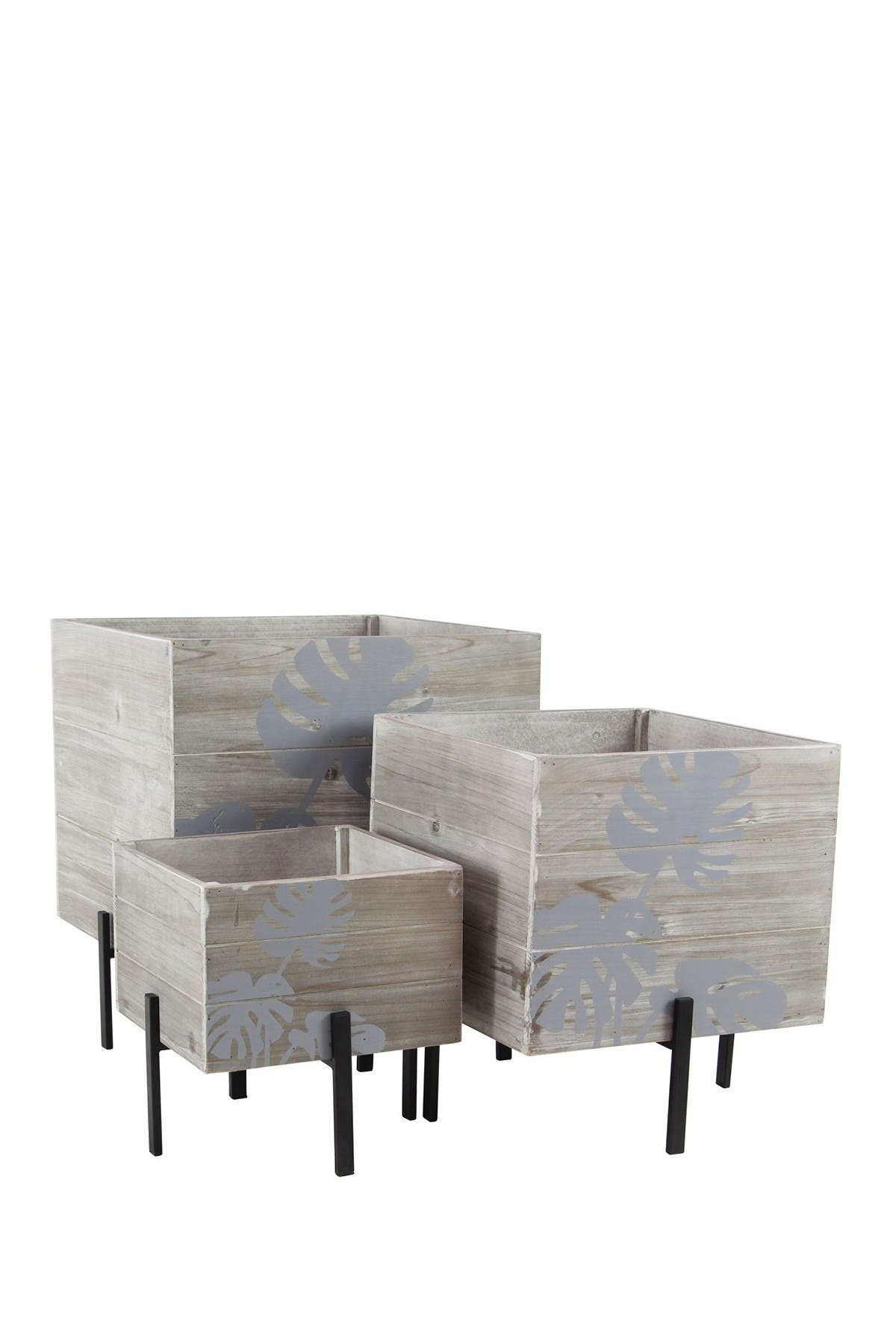 Image of Willow Row Brown Rustic Iron Cube Standing Planter - Set of 3