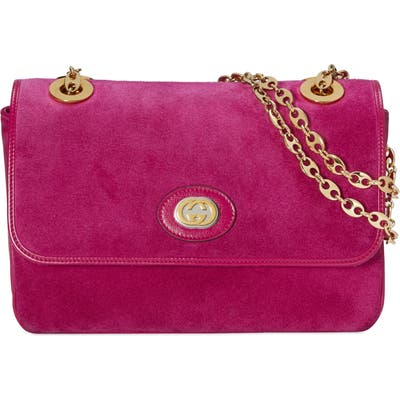 Gucci Small Suede Shoulder Bag - Pink