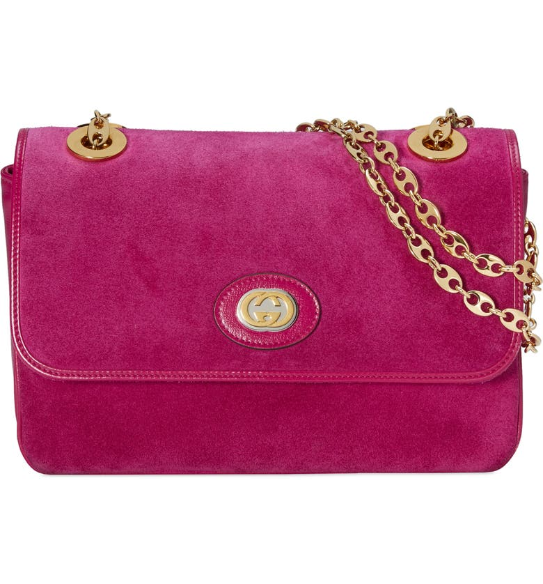 GUCCI Small Marina Suede Shoulder Bag, Main, color, FUCHSIA