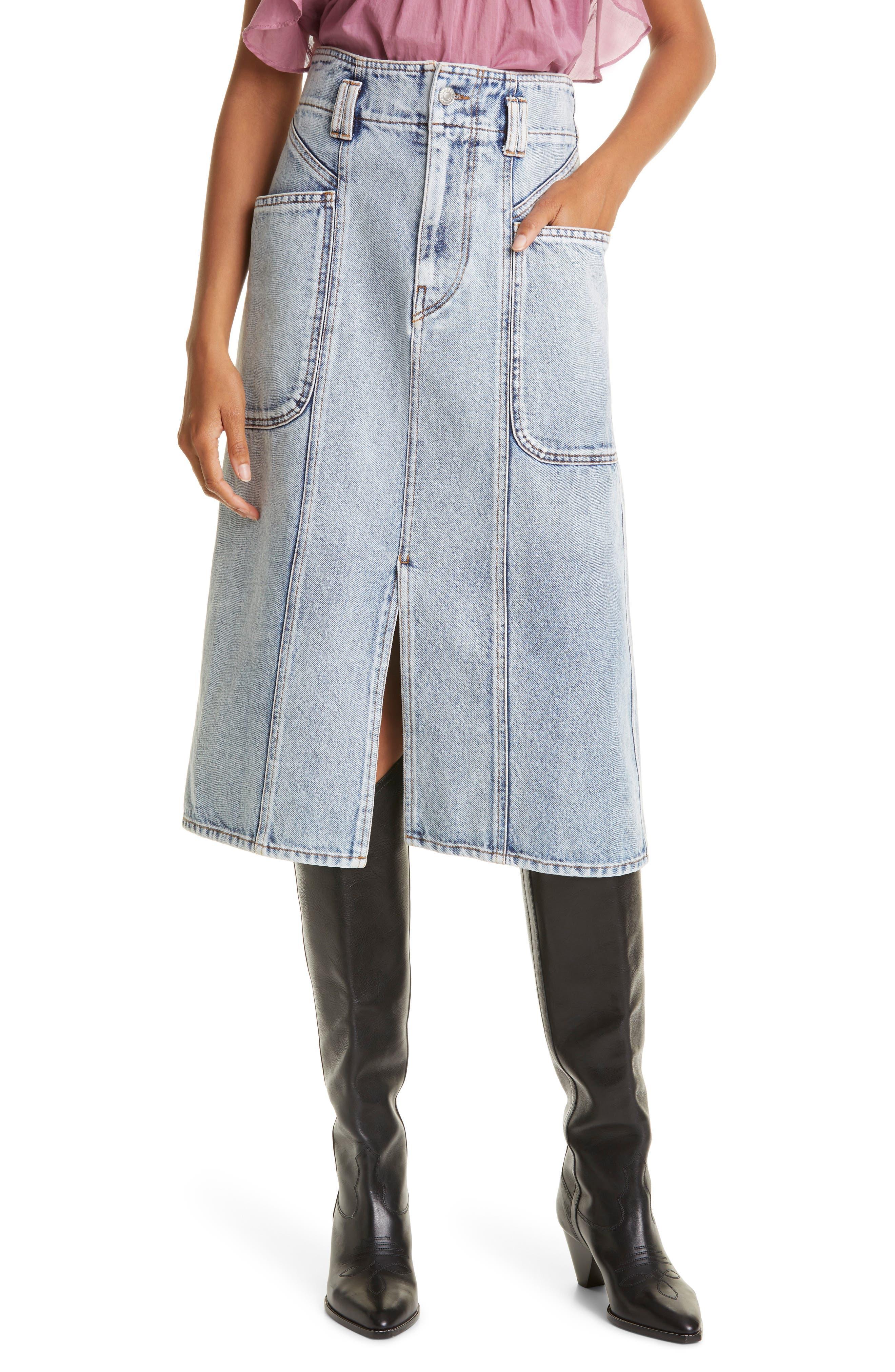 Women's Isabel Marant Etoile Toria Denim Midi Skirt