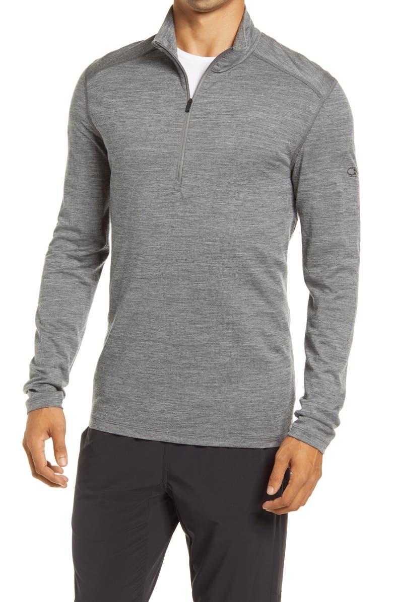 ICEBREAKER 200 Oasis Merino Wool Half Zip Base Layer, Main, color, GRITSTONE HTHR
