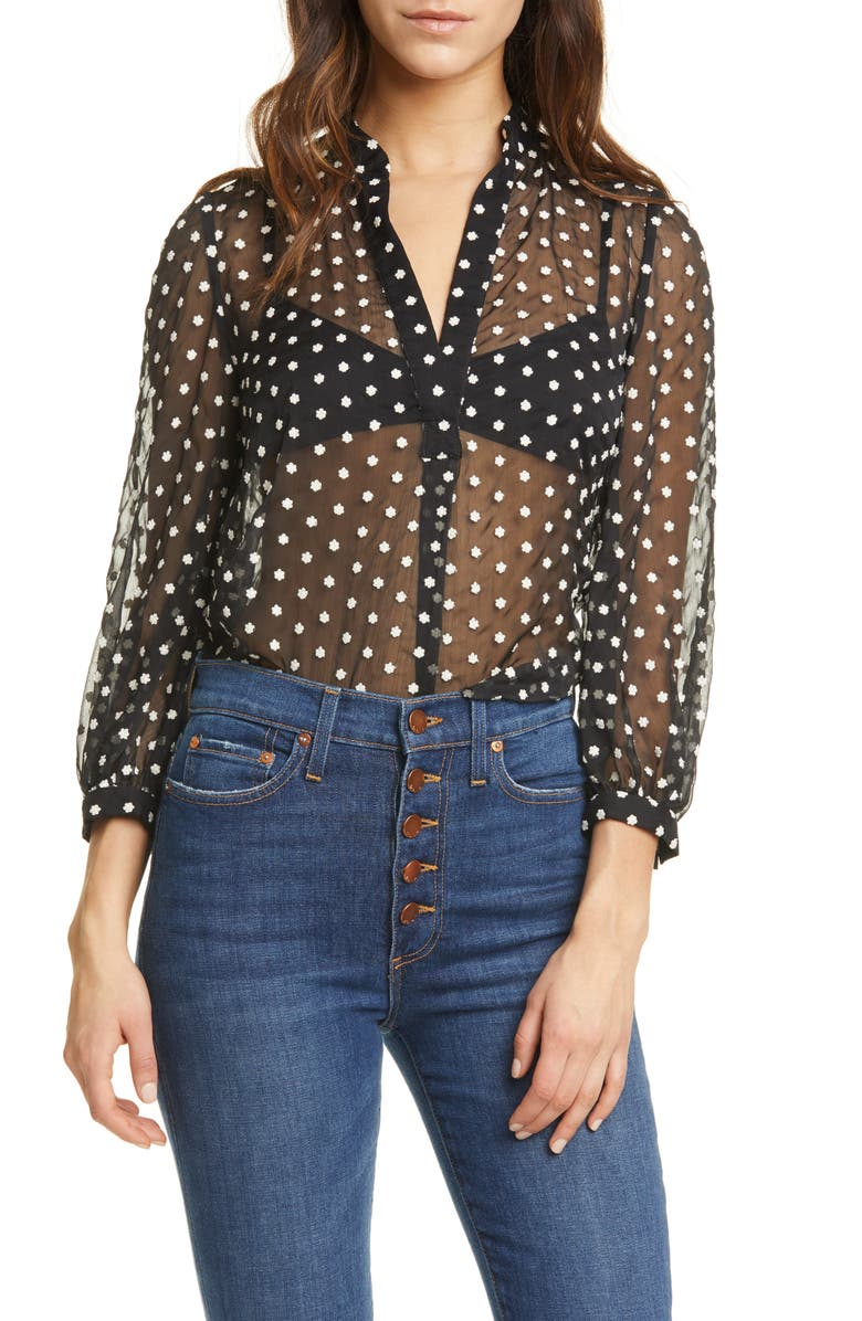 ALICE + OLIVIA Sheila Embroidered Sheer Blouse, Main, color, 009