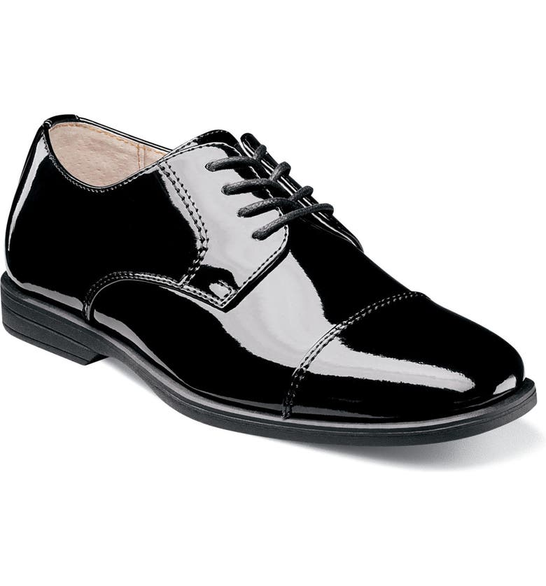 FLORSHEIM Reveal Cap Toe Oxford Junior, Main, color, BLACK PATENT