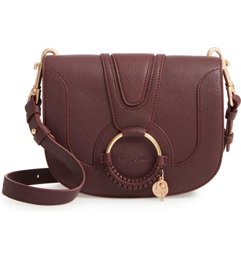 SEE BY CHLOÉ Hana Small Leather Crossbody Bag, Main, color, BURGUNDY