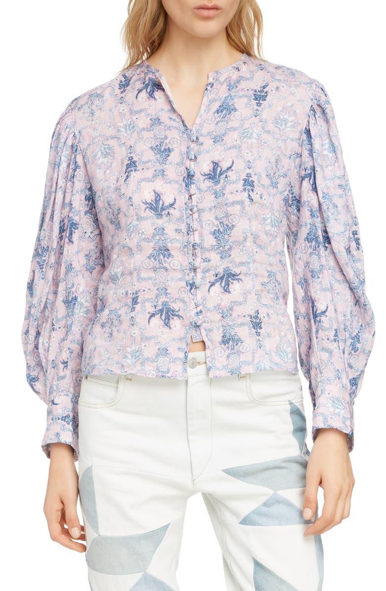 ISABEL MARANT ÉTOILE Tilo Floral Print Linen Shirt, Main, color, 650