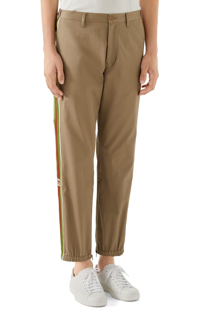 GUCCI Stripe Cotton Pants, Main, color, BEIGE