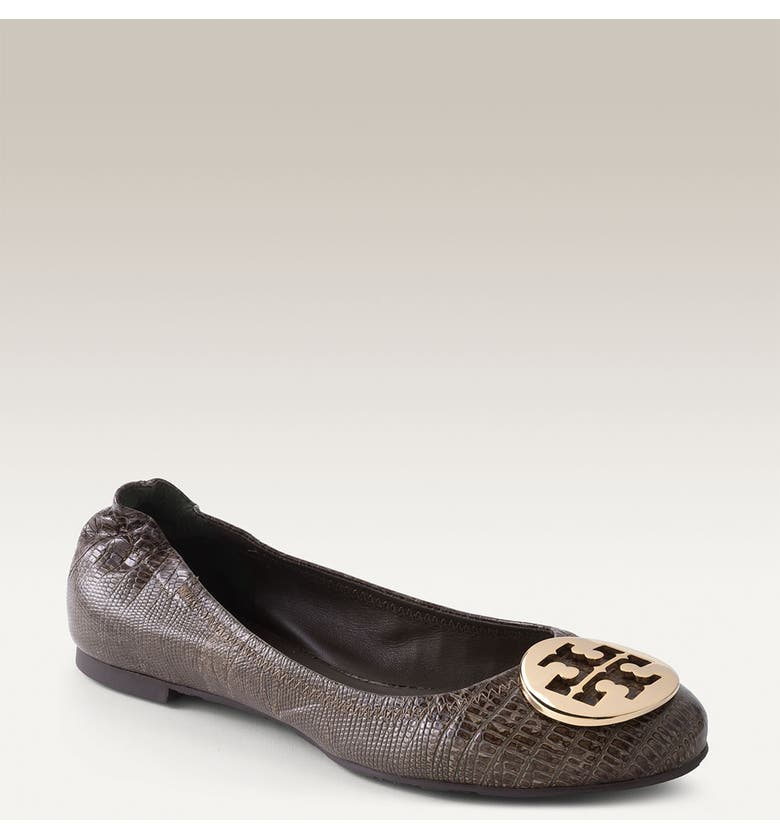 TORY BURCH 'Reva' Lizard Embossed Leather Flat, Main, color, OLIVE