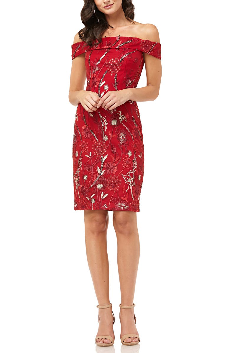 CARMEN MARC VALVO INFUSION Off the Shoulder Cocktail Dress, Main, color, RED/ GOLD