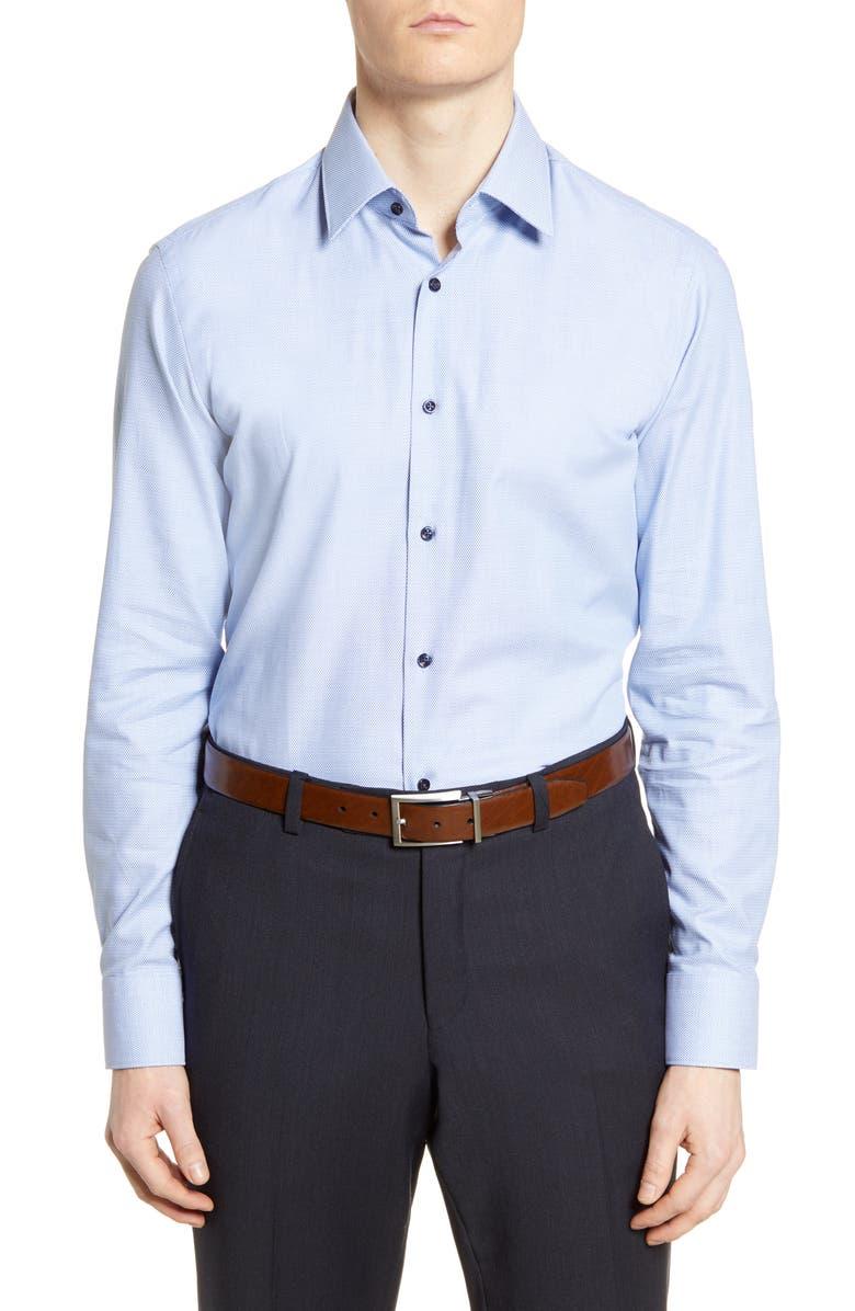 BOSS Slim Fit Geometric Dress Shirt, Main, color, MEDIUM BLUE