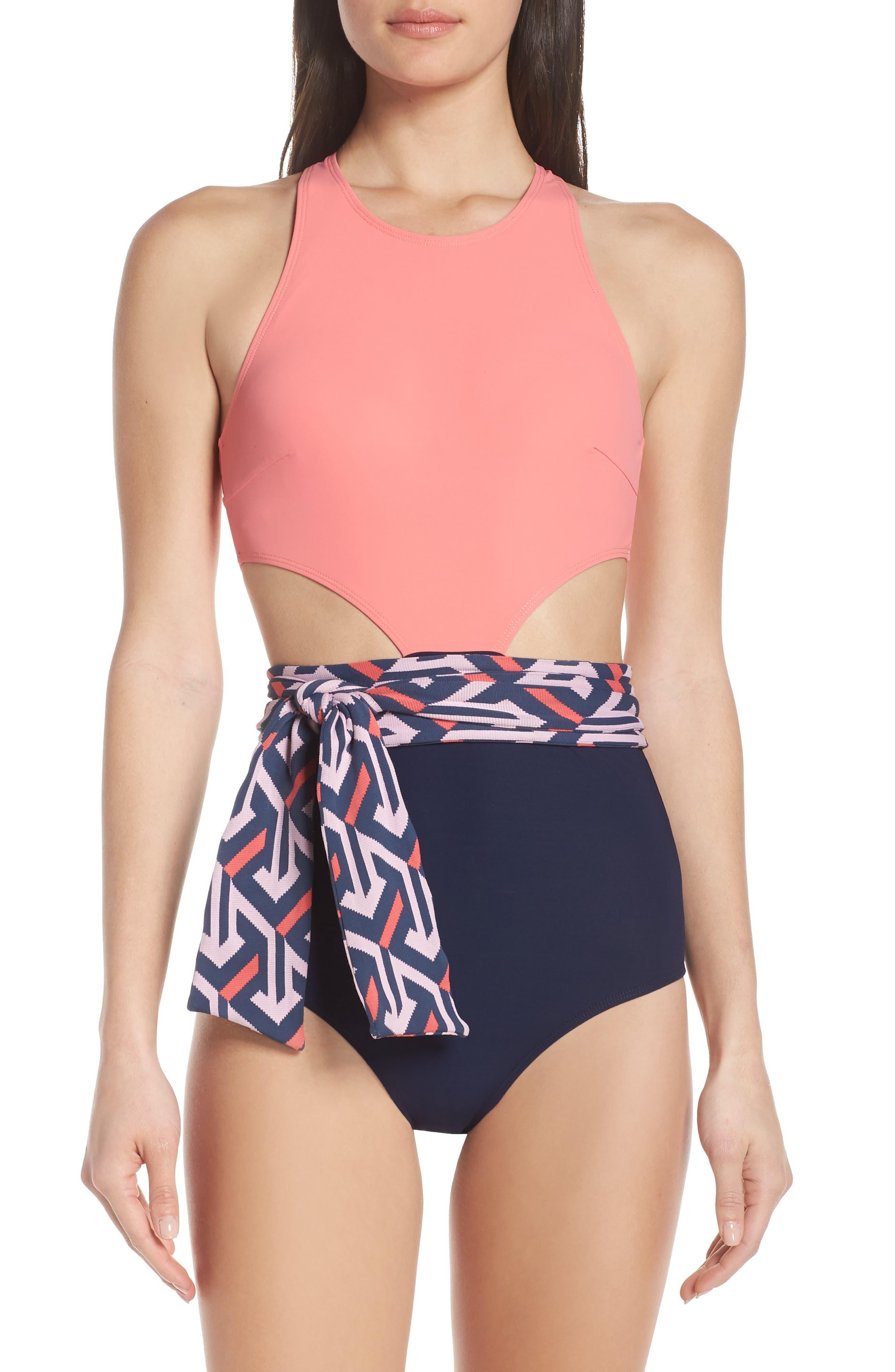 Flagpole Lynn One-Piece Sash Swimsuit, Coral