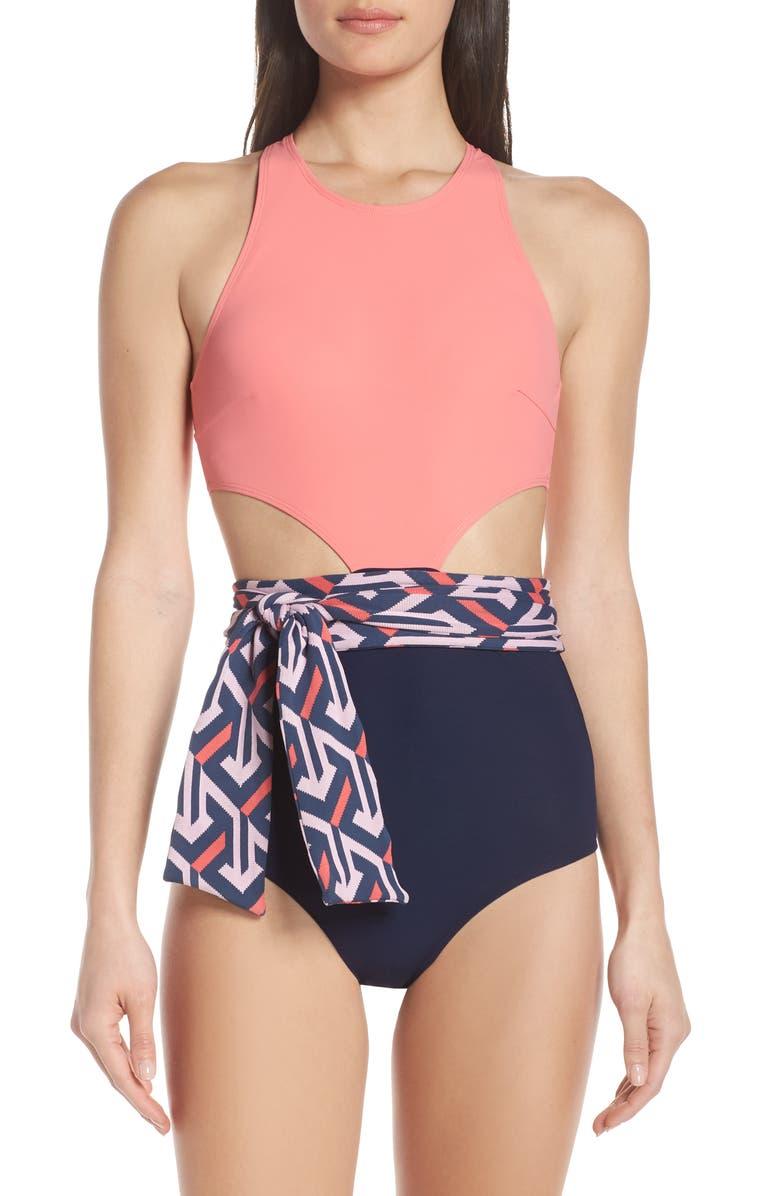 e427d9188a4 Lynn One-Piece Sash Swimsuit, Main, color, FLAGMINGO MULTI/ MAGENTA