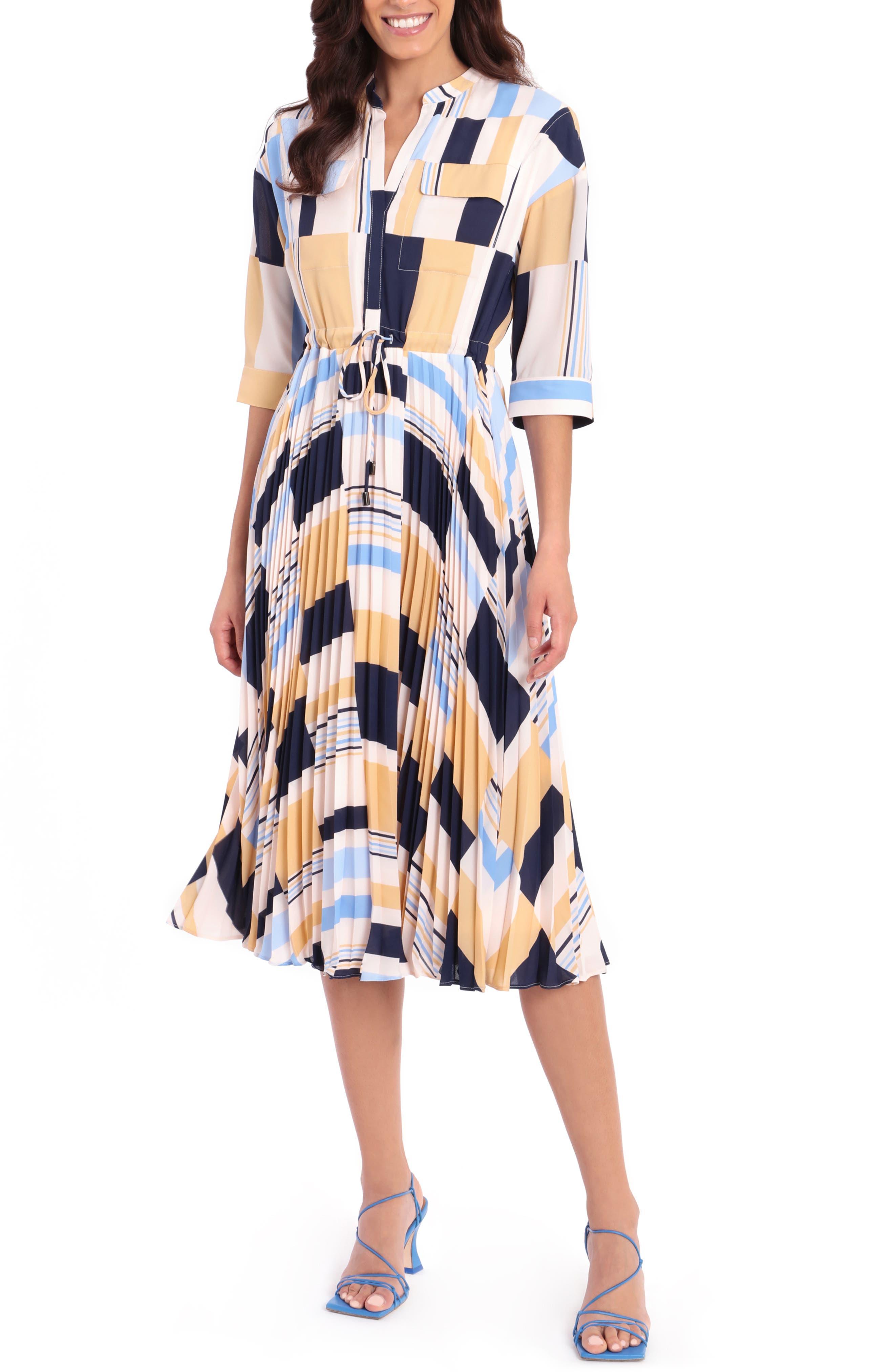Colorblock Tie Waist Crepe Georgette Midi Dress
