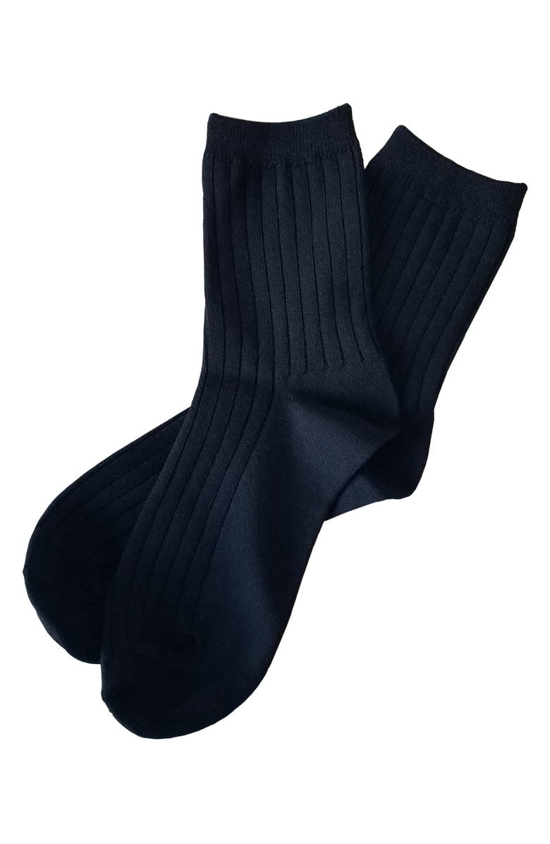 LE BON SHOPPE Crew Socks, Main, color, ONYX
