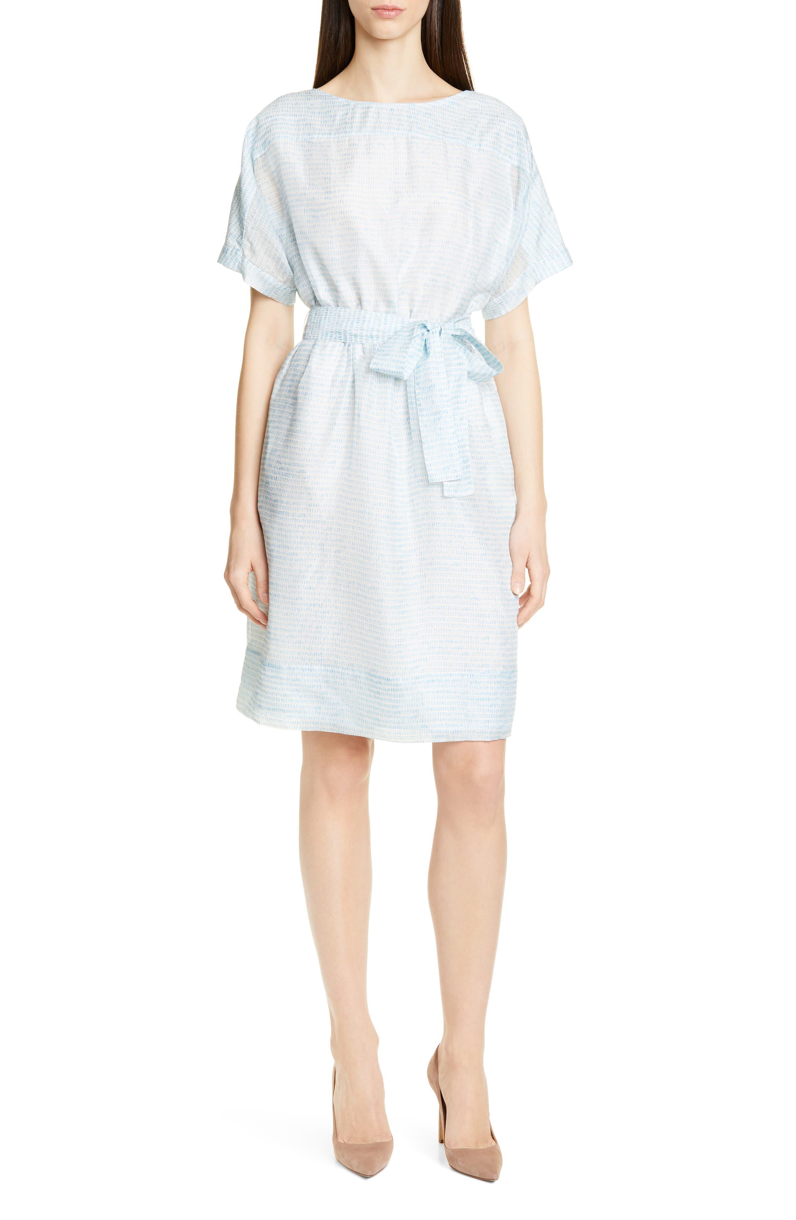 Boss Demseey Short Sleeve Silk Dress, Blue