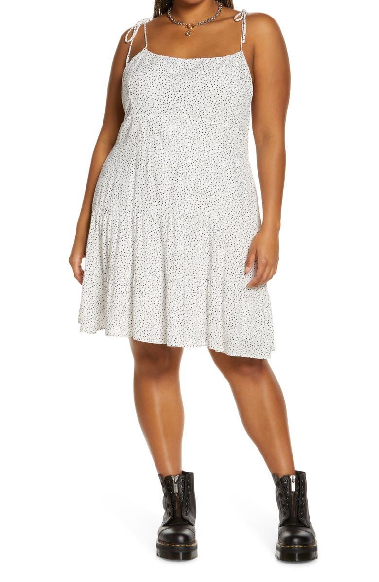 OPEN EDIT Double Layer Chiffon Tiered Dress, Main, color, WHITE- BLACK MICRO DOT