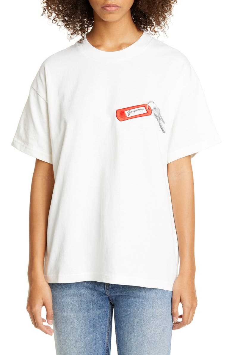 JACQUEMUS Oversize Embroidered Short Sleeve Tee, Main, color, WHITE