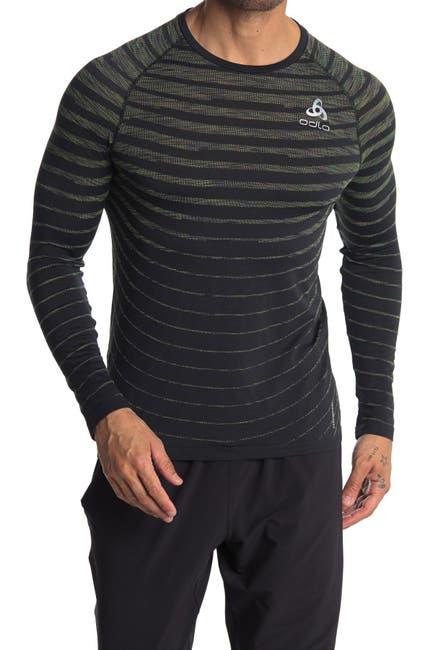 Image of Odlo Stripe Print Crew Neck Base Layer T-Shirt