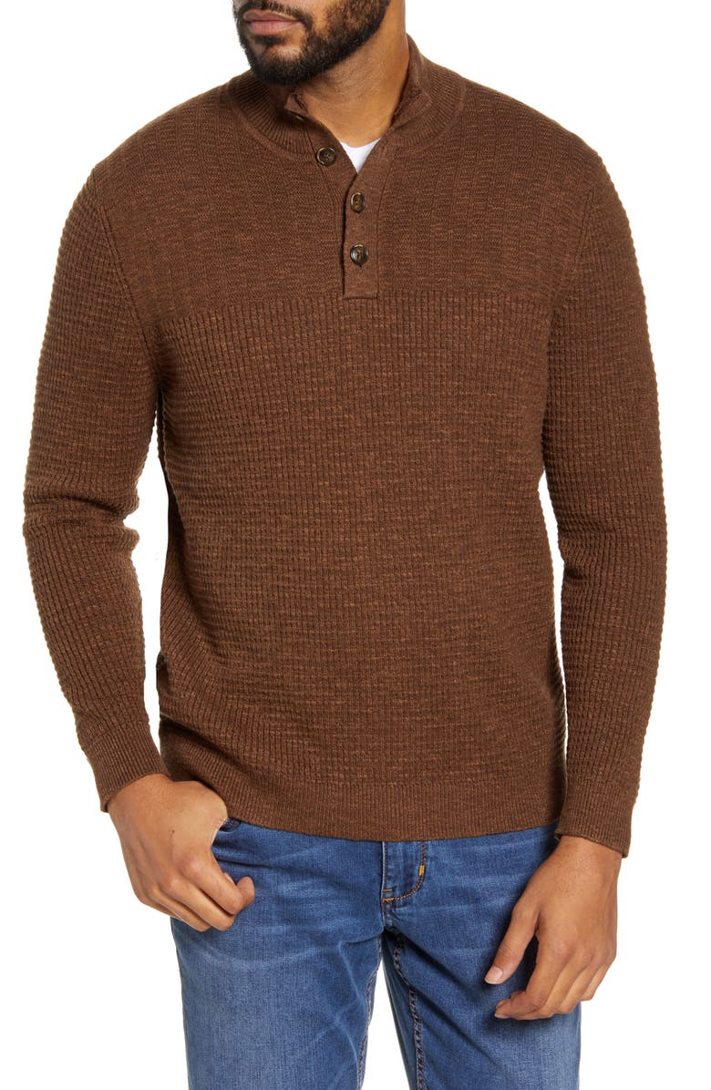TOMMY BAHAMA Mock Neck Henley Sweater, Main, color, TOBACCO WRAP