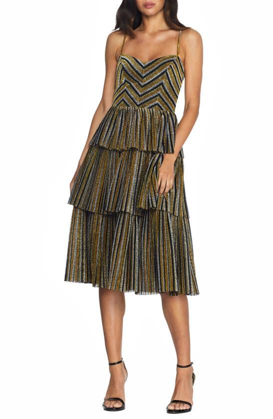 Dress The Population KATHY GLITTER STRIPE TIERED RUFFLE COCKTAIL DRESS