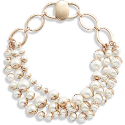 Bracha Coco Imitation Pearl Triple Strand Necklace