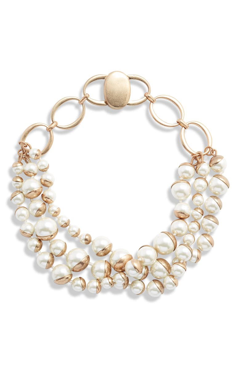 BRACHA Coco Imitation Pearl Triple Strand Necklace, Main, color, 710