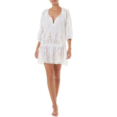 Melissa Odabash Ashley Eyelet Detail Cotton Cover-Up Tunic, White