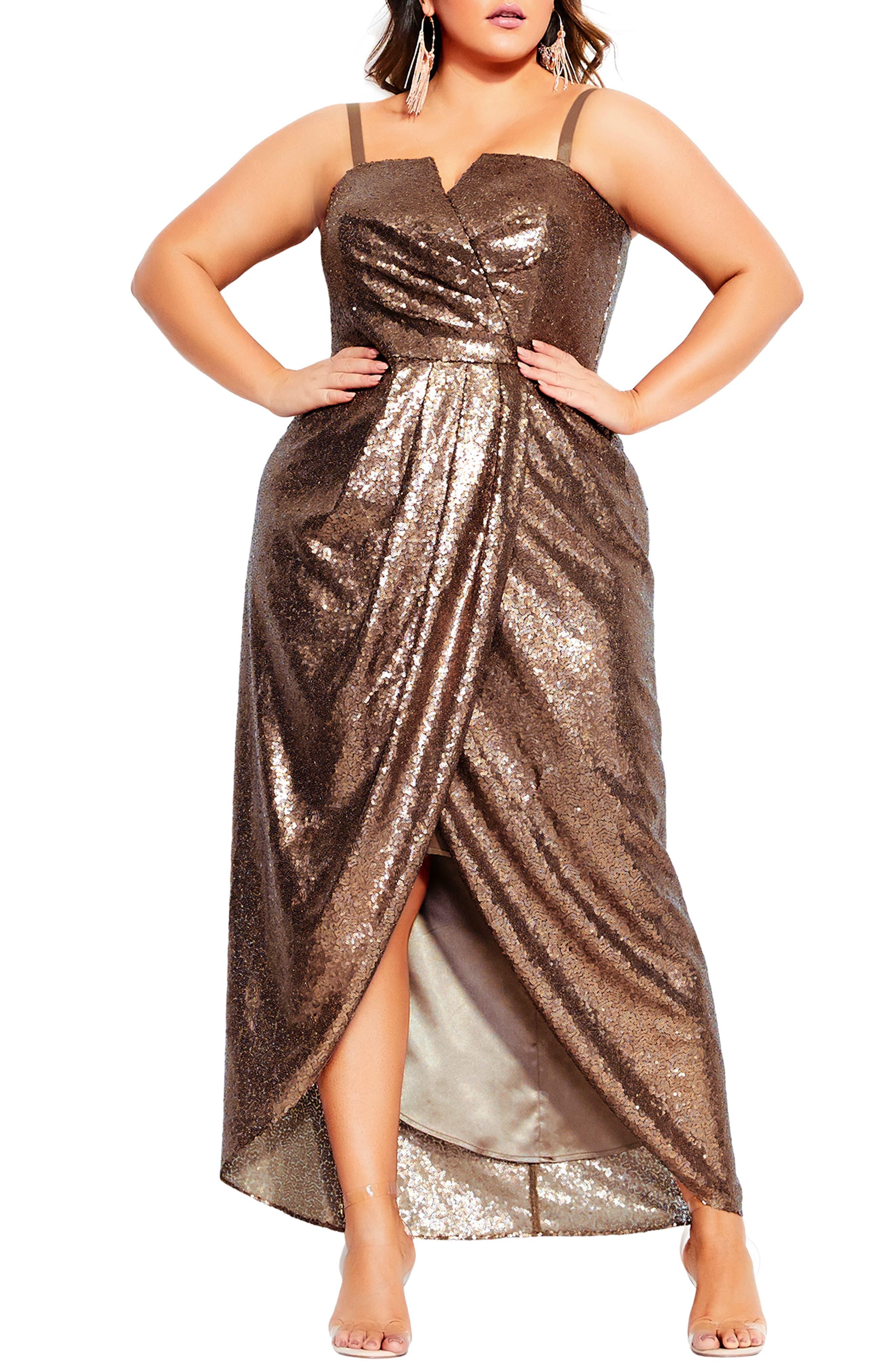 70s Dresses – Disco Dress, Hippie Dress, Wrap Dress Plus Size Womens City Chic Siren Sequin Convertible Strapless Gown Size Medium - Metallic $189.00 AT vintagedancer.com