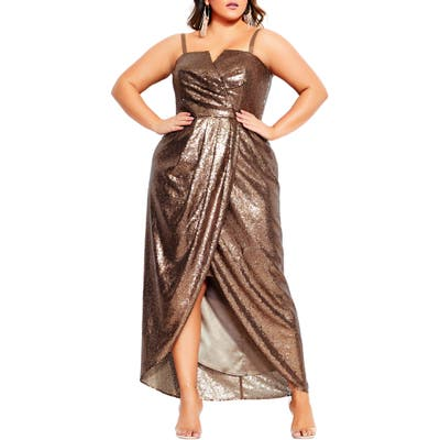Plus Size City Chic Siren Convertible Strap Sequin Faux Wrap Gown, Metallic