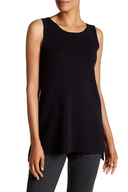 Image of Eileen Fisher Wool Bateau Neck Sleeveless Top