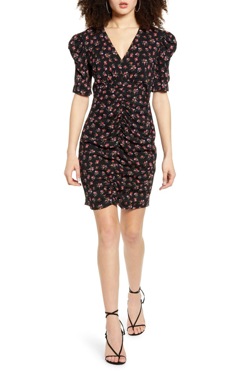 LEITH Ruched Puff Sleeve Minidress, Main, color, BLACK DITSY FLORAL