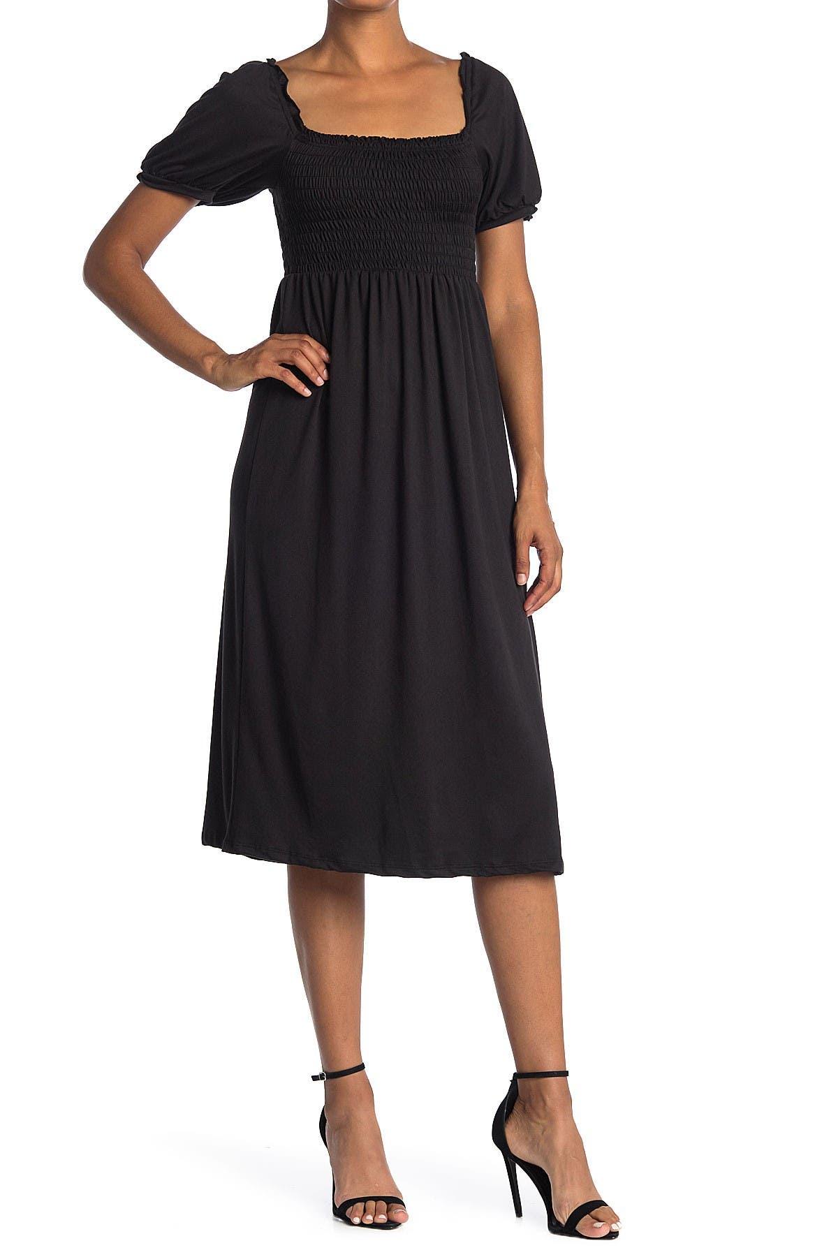 Image of Velvet Torch Smocked Puff Sleeve Midi Dress