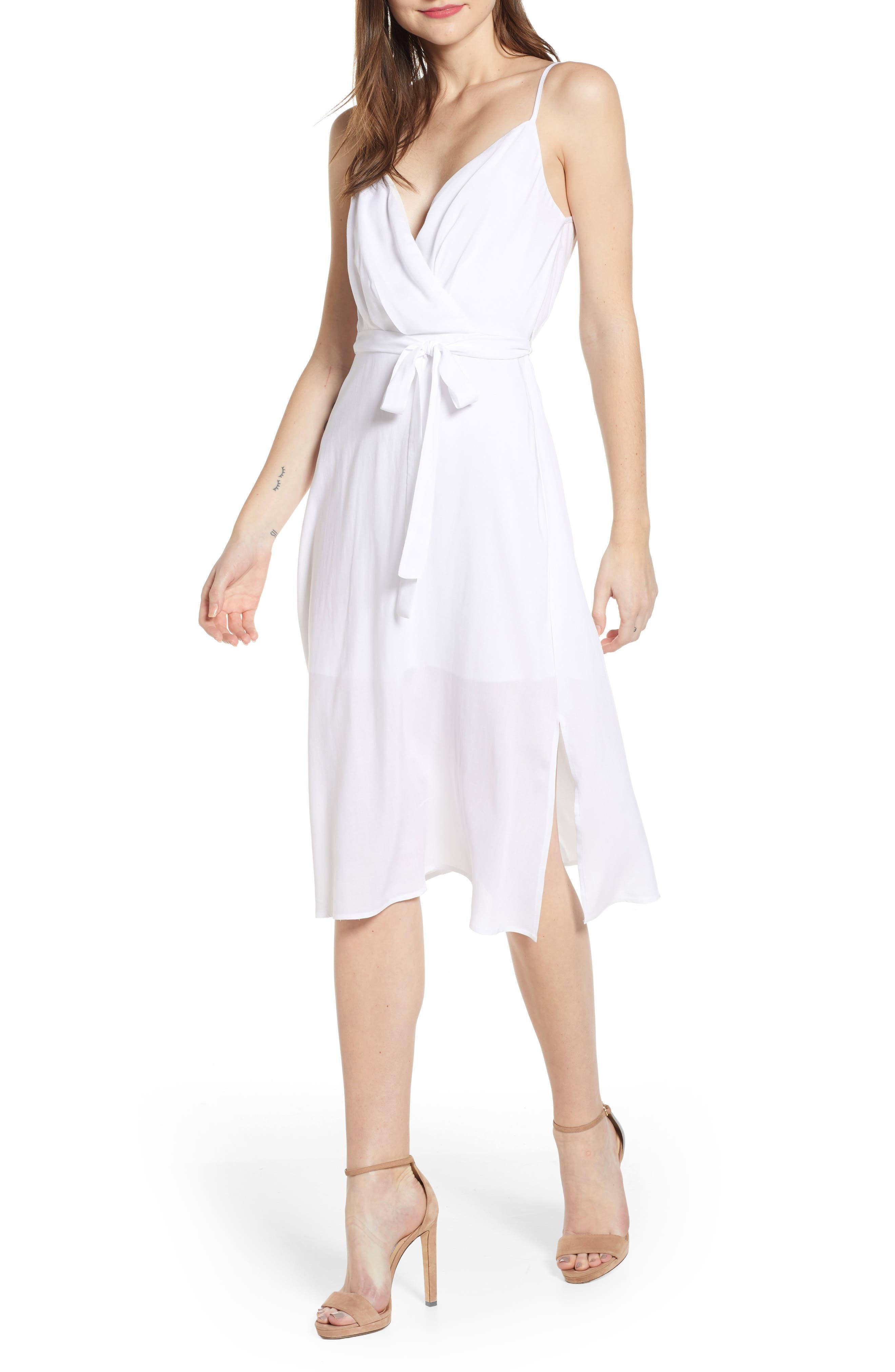 Row A Surplice Midi Dress, White