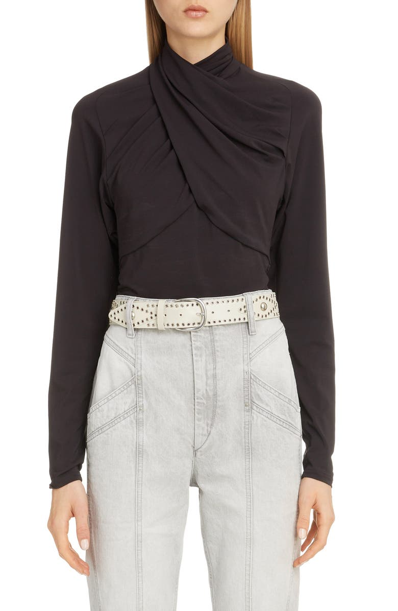 ISABEL MARANT Drape High Neck Jersey Top, Main, color, BLACK