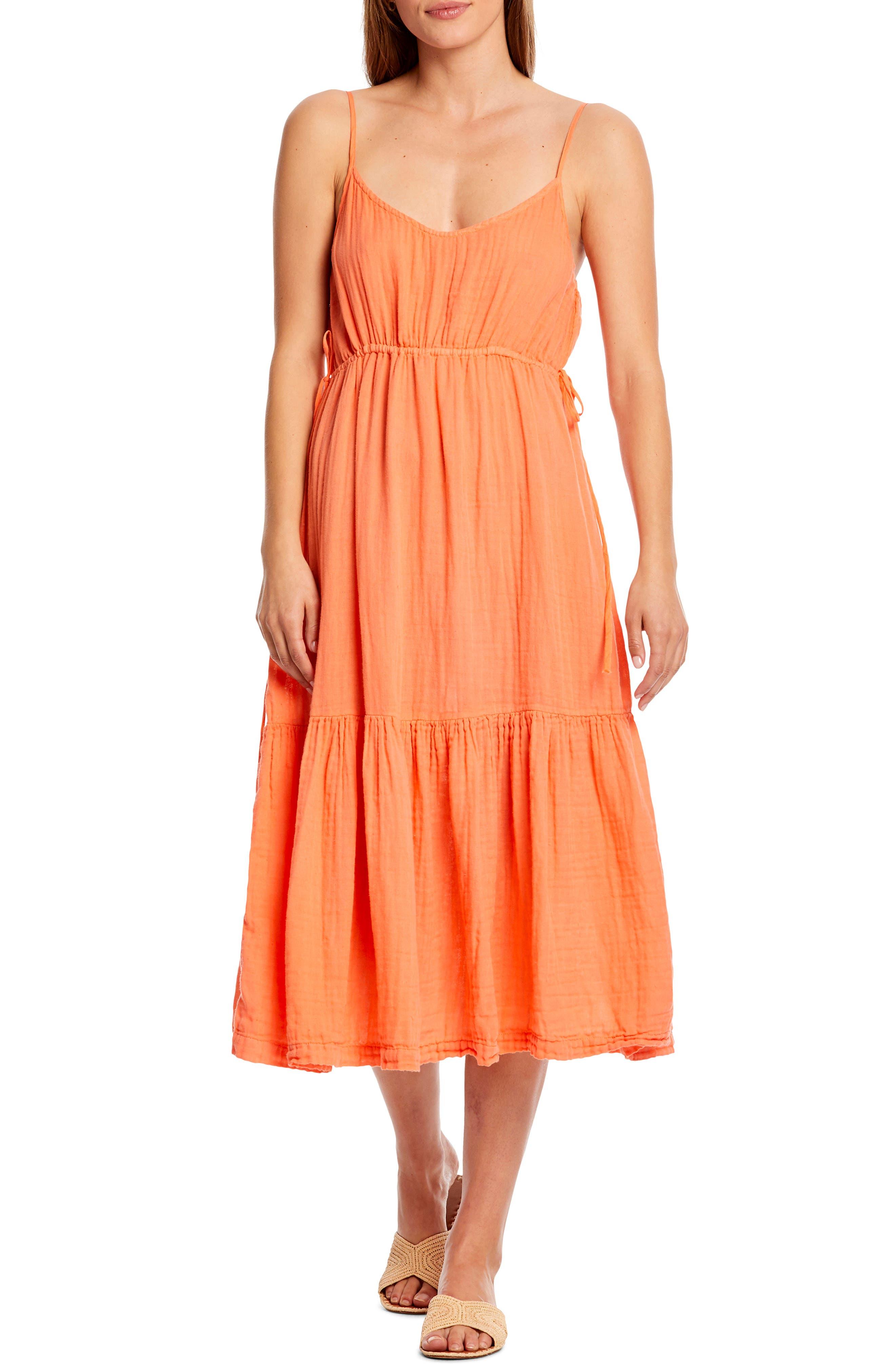 Michael Stars Giovanni Tie Waist Cotton Voile Sundress, Orange
