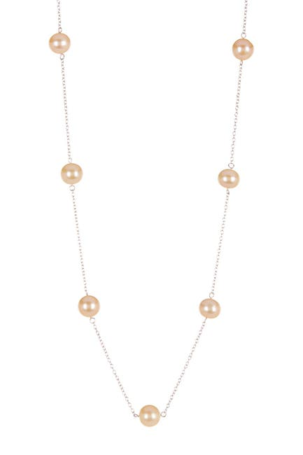 Image of Splendid Pearls 7-7.5mm Pink Cultured Freshwater Pearl Tin Cup Station Necklace