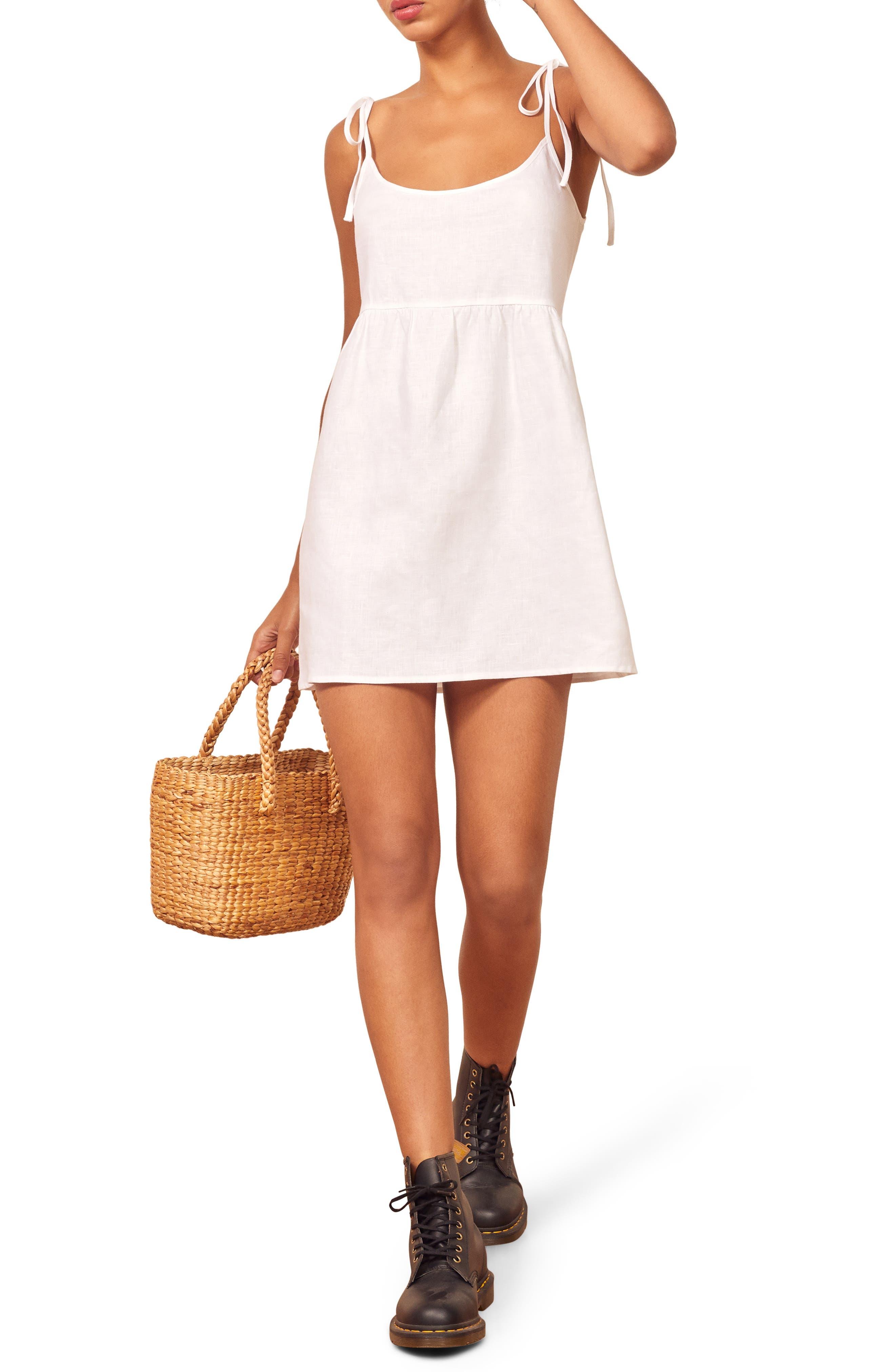 Reformation Christie Linen Sundress, White