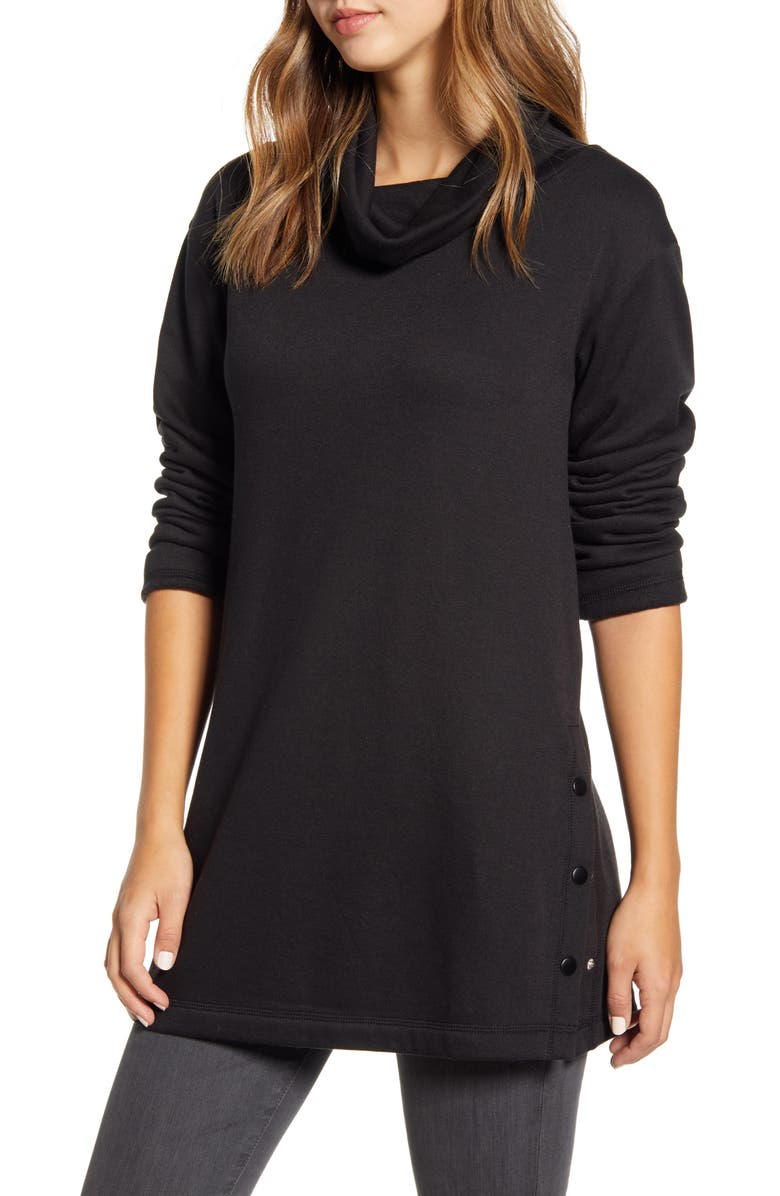 CASLON<SUP>®</SUP> Cowl Neck Side Button Tunic Top, Main, color, BLACK