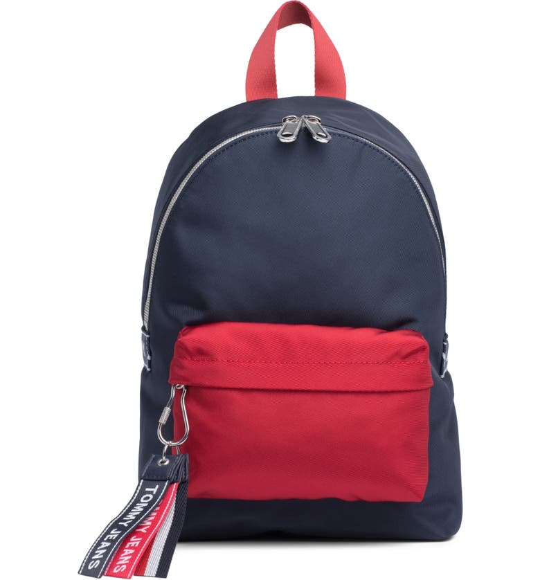 TOMMY JEANS Woven Logo Backpack, Main, color, CORPORATE NAVY