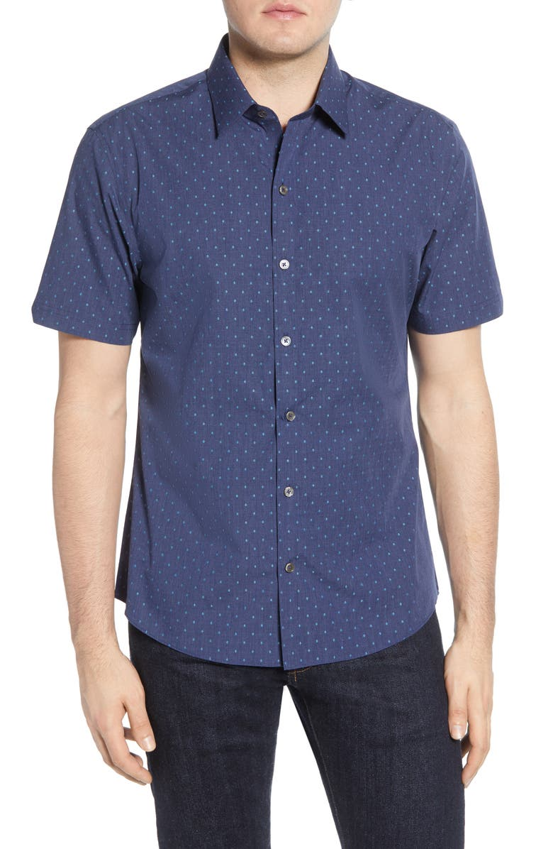 ZACHARY PRELL Tayport Regular Fit Short Sleeve Button-Up Sport Shirt, Main, color, DARK DENIM