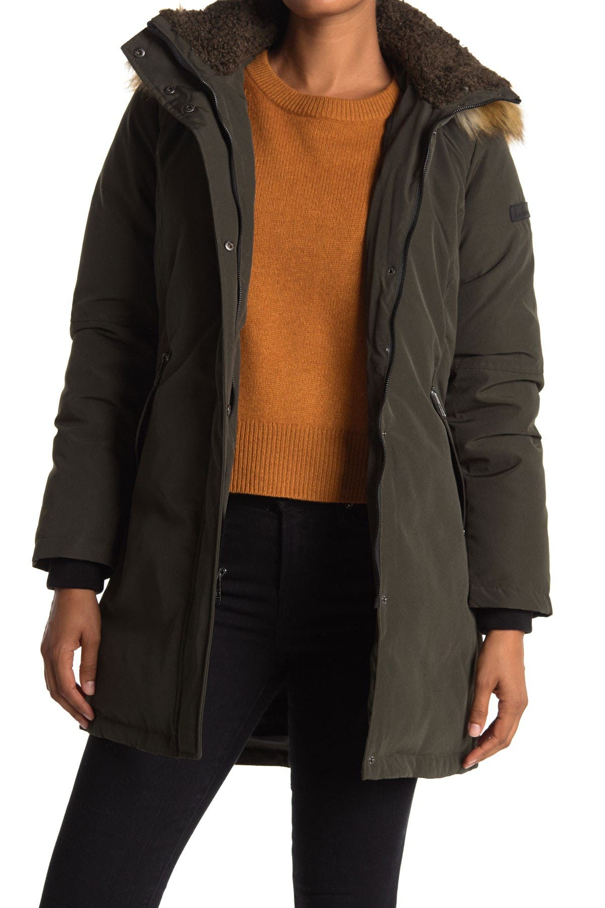 Image of Sam Edelman Faux Fur Trim Hooded Parka