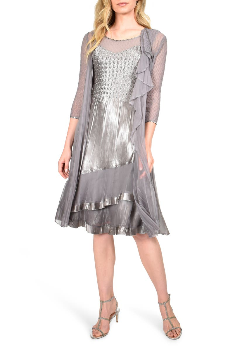 KOMAROV Tiered Hem Cocktail Dress with Chiffon Jacket, Main, color, 020