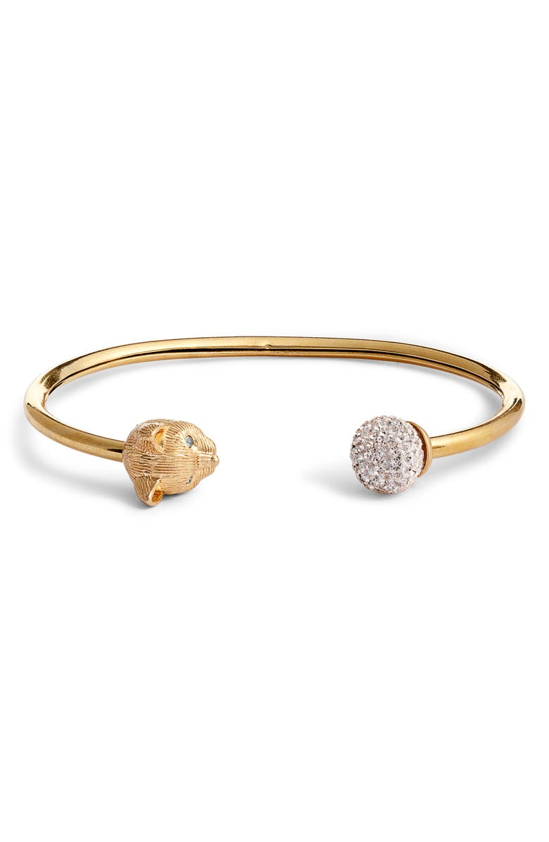 KATE SPADE NEW YORK house cat cuff bracelet, Main, color, CLEAR/ GOLD