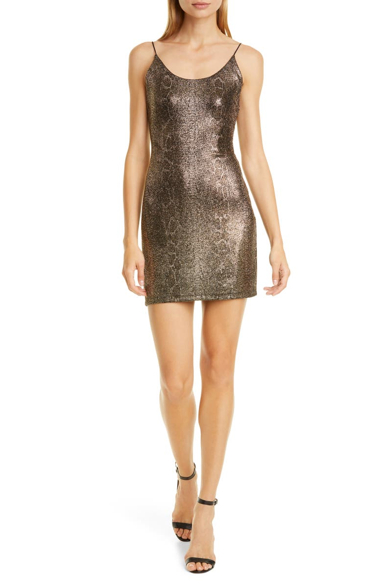 ALICE + OLIVIA Delora Metallic Snake Print Body-Con Minidress, Main, color, 716
