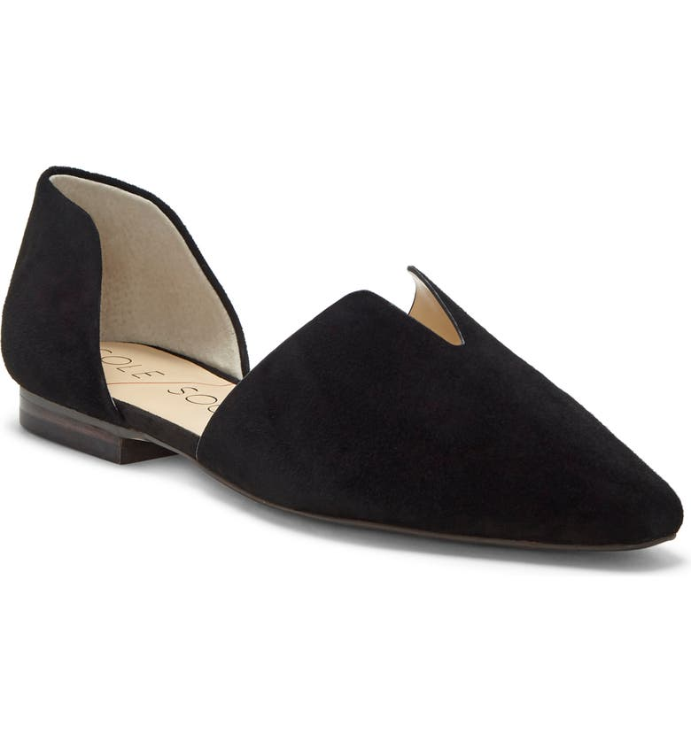 SOLE SOCIETY Benna d'Orsay Loafer, Main, color, BLACK LEATHER