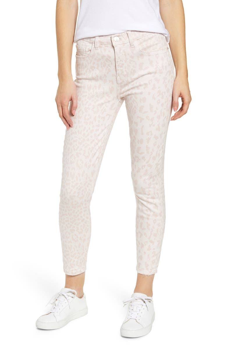 Current Elliott The Stiletto High Waist Crop Skinny Jeans Leopard Rose