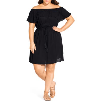 Plus Size City Chic Sunkissed Off The Shoulder Dress, Black