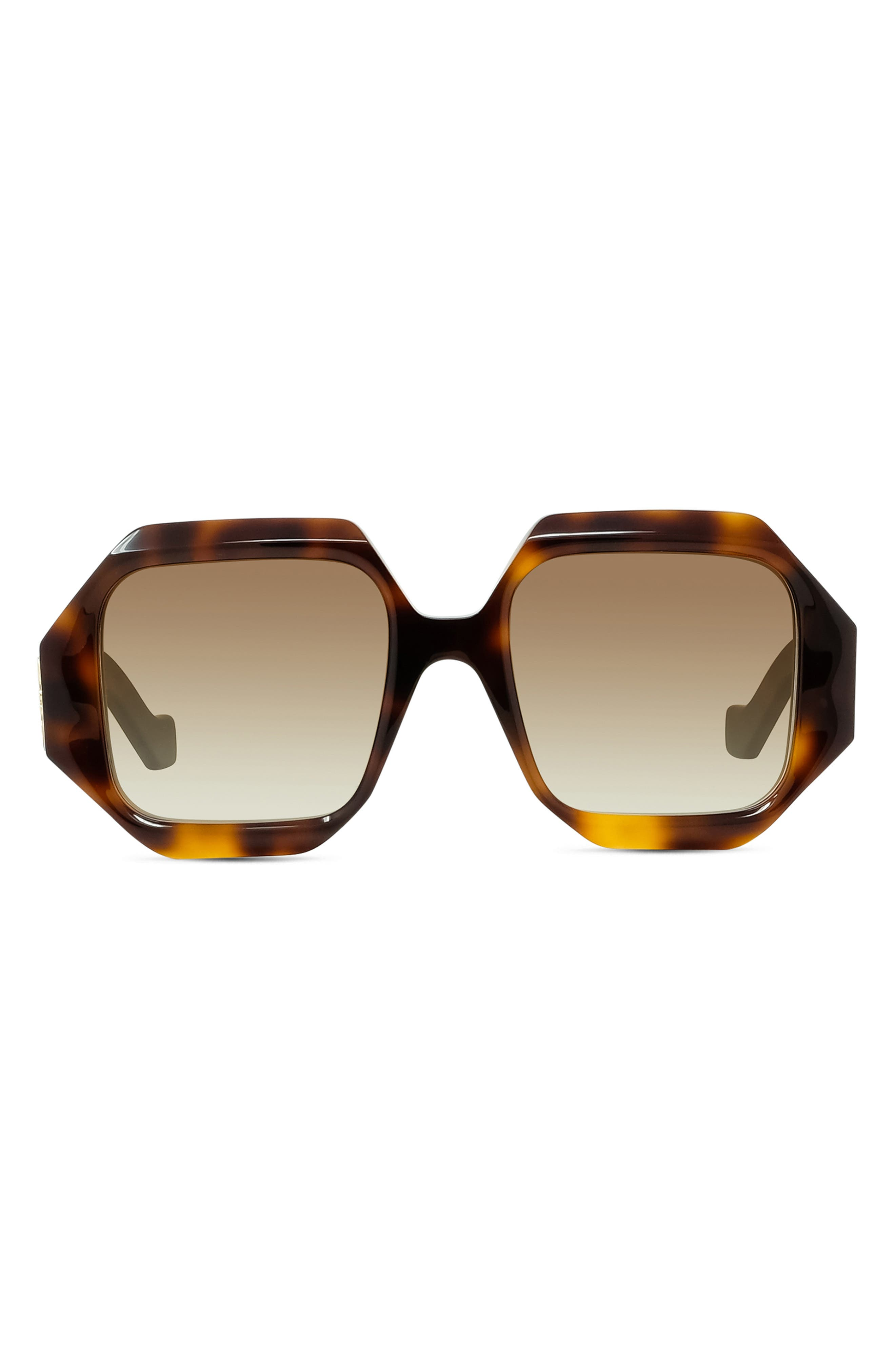 Women's Loewe 54mm Hexagonal Sunglasses - Classic Havana/brwn Gradient