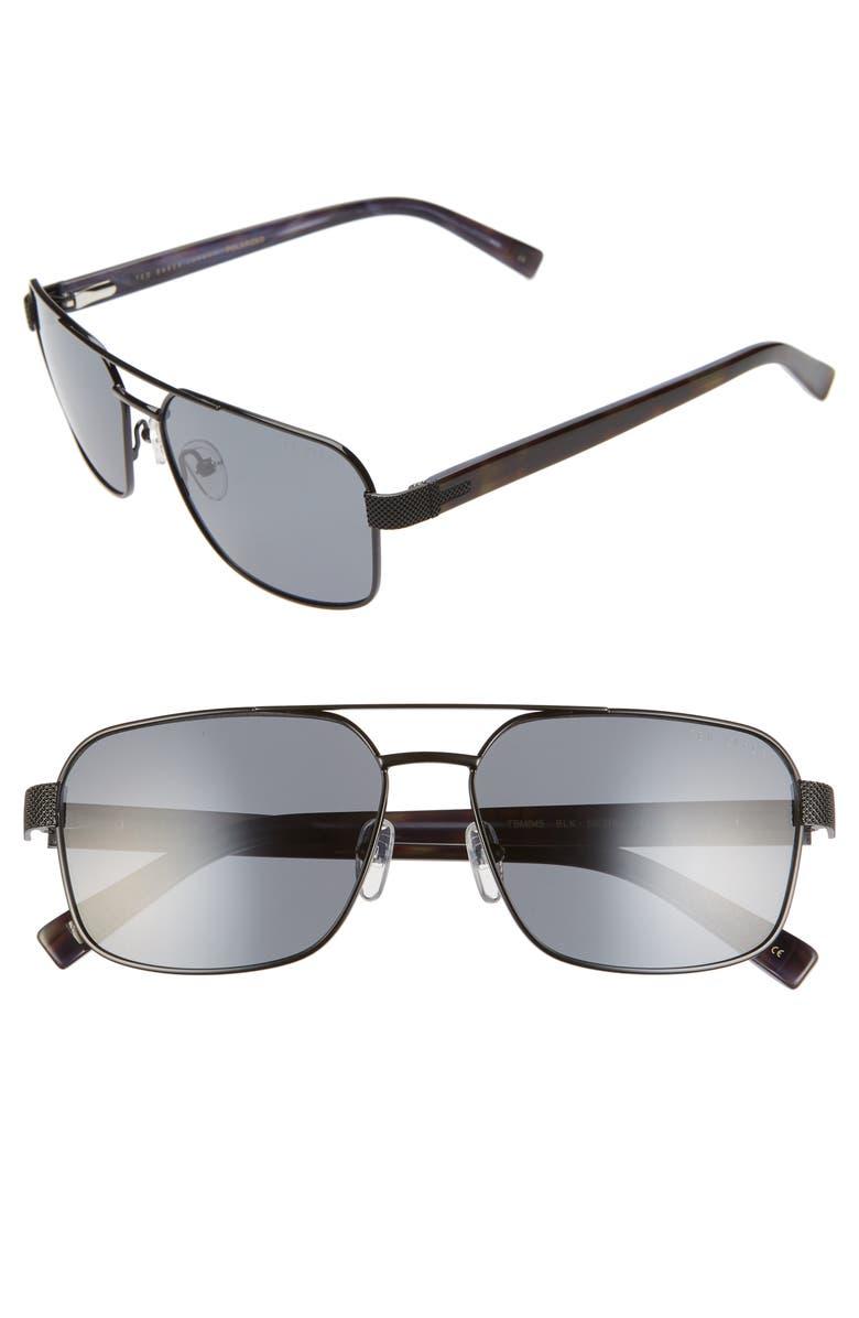 TED BAKER LONDON 58mm Polarized Navigator Sunglasses, Main, color, BLACK