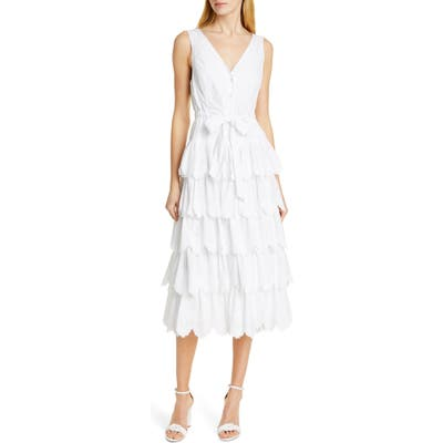 La Vie Rebecca Taylor Mirlle Embroidered Tiered Cotton Midi Dress, White